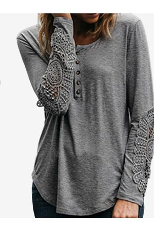 YOINS Women Long Sleeve - Lace Insert Button Design Curve Hem Crew Neck Long Sleeves T-shirts