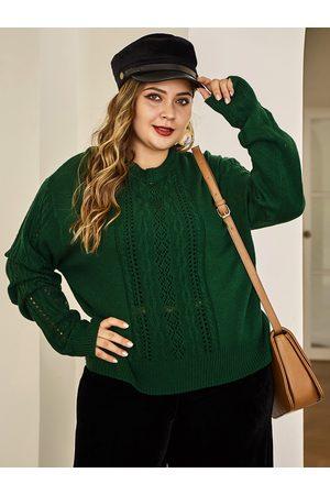 YOINS Plus Size Green Hollow Design Long Sleeves Sweater