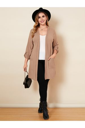YOINS Plus Size Two Large Pockets Long Sleeves Cardigan