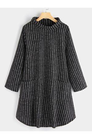 YOINS Side Pockets Sheer Perkins Collar Long Sleeves Tee