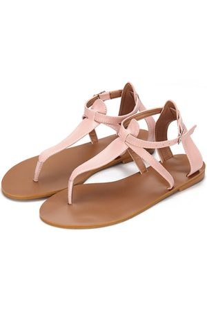 YOINS Leather Look T-bar Design Adjustable Strap Flat Sandals