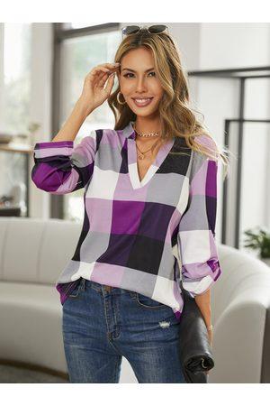 YOINS Purple Color Block V-neck Curved Hem Blouse