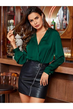 YOINS Green Wrap V Neck Long Sleeves Bodysuit