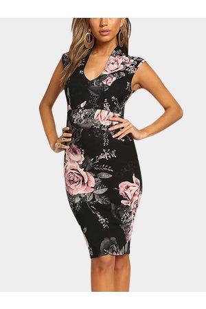 YOINS Zip Design Random Floral Print V-neck Sleeveless Dress