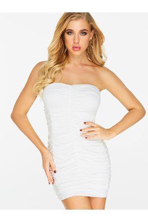 YOINS Pleated Design Plain Strapless Backless Sleeveless Dress