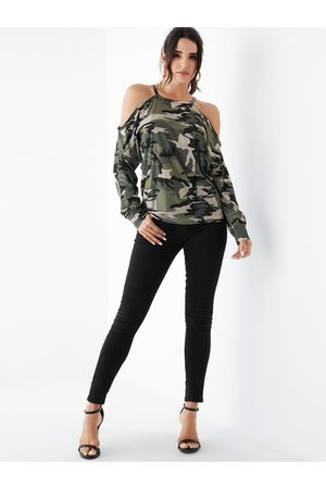 YOINS Camouflage Cold Shoulder Long Sleeves Tee