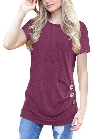 YOINS Round Neck Long Sleeves Causal T-shirt in Burgundy