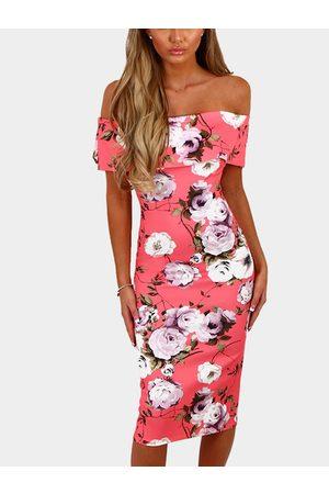 YOINS Sexy Random Floral Off Shoulder Bodycon Dress