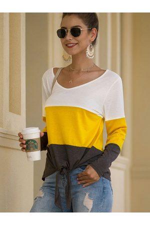 YOINS Multicolor Self-tie Design Patchwork Round Neck Long Sleeves Top