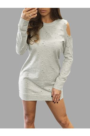 YOINS Casual Cold Shoulder Ripped Details Dress With Long Sleeves