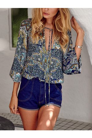YOINS Multi Boho Deep V Neck Blouse