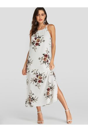 YOINS Random Floral Print Halter Slit Design Sleeveless Dress