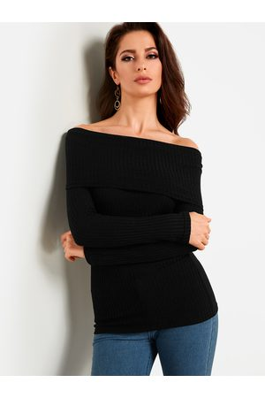 YOINS Off Shoulder Bodycon Fashion Knitted Sweater