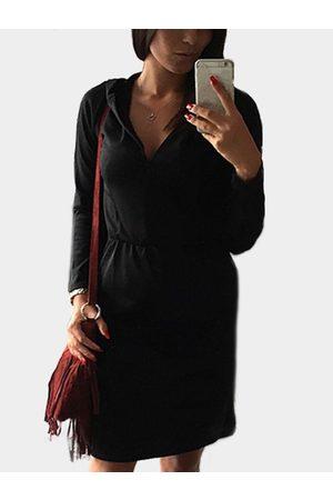 YOINS V-neck Long Sleeves Hooded Pencil Dress
