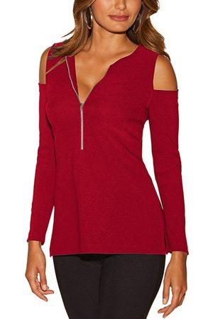 YOINS Zip Design Cold Shoulder Long Sleeves T-shirt