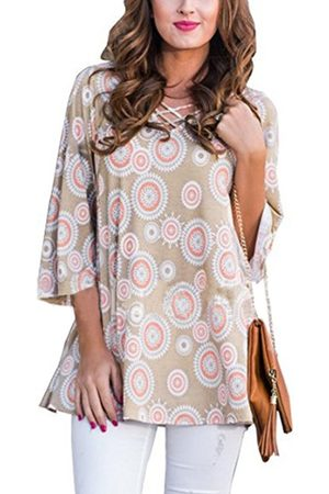 YOINS Khaki Circles Tunic Print Criss-cross V-neck Top