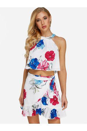 YOINS Wrap Design Random Floral Print Halter Two Piece Outfits