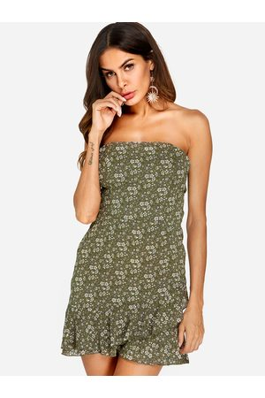 YOINS Self-tie Design Random Floral Print Strapless Dress