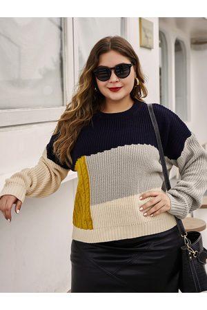 YOINS Plus Size Multicolor Patchwork Round Neck Sweater