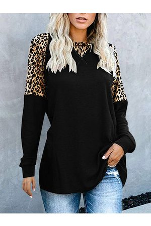 YOINS Black Leopard Patchwork Round Neck Long Sleeves Tee