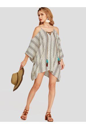 YOINS Apricot Cold shoulder Adjustable Neckline Tribal Print Backless Dress