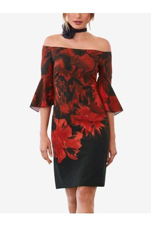 YOINS Backless Tropical Print Off The Shoulder Flared Sleeves Dress