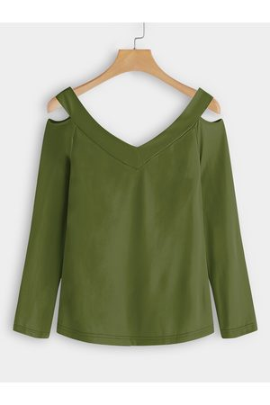 YOINS Army Green Cut Out Design Plain V-neck Long Sleeves T-shirts