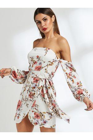 YOINS Self-tie Design Floral Print Strapless Dress