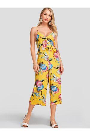 YOINS Random Floral Print V Neck Sleeveless Jumpsuit