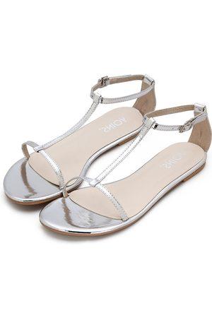 YOINS Black T-bar Strap Flat Sole Simple Sandals