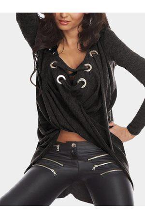YOINS Deep Grey Irregular Hem Long Sleeves Lace-up Details Shirt