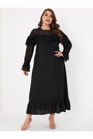 YOINS Plus Size Black Lace Long Sleeves Dress