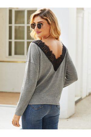 YOINS Lace Bateau Long Sleeves Knit Top