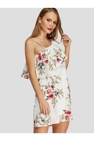 YOINS Floral Ruffle Trim One Shoulder Dress