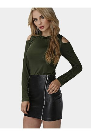 YOINS Knitted Round Neck Cold Shoulder Top in Army