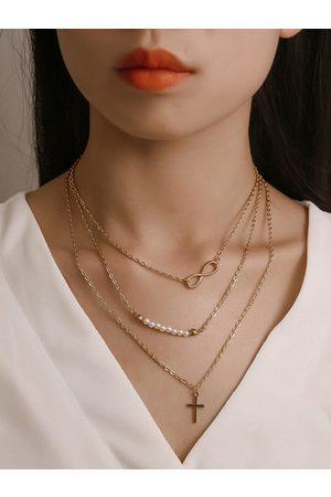 YOINS Beaded Cross Pendant Multi-layer Necklace