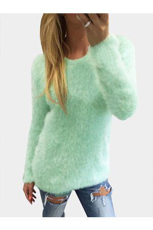 YOINS Aquamarine Casual Round Neck Long Sleeves Fuzzy T-shirt