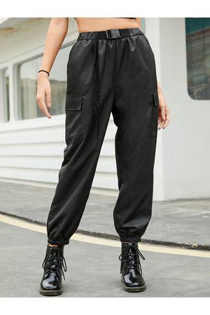 YOINS Black Side Pockets Plain Stretch Waistband Pants