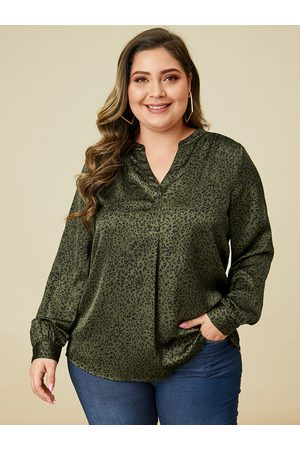 YOINS Plus Size Army Green Animal Long Sleeves Tee