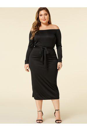 YOINS Plus Size Belt Design Off The Shoulder Dress