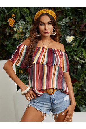 YOINS Multi Color Random Stripe Ruffle Trim Lined Off The Shoulder Blouse