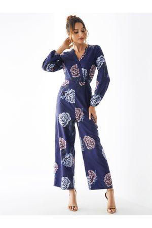 YOINS Random Floral Print Crossed Front Long Sleeves Jumpsuit