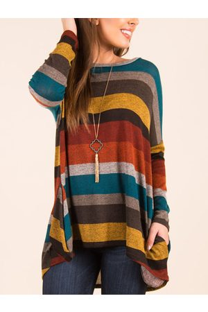 YOINS Yellow Stripe Pattern Round Neck Long Sleeves Loose Shirt
