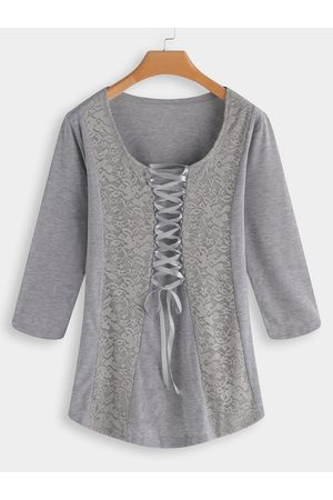 YOINS Lace Patchwork Scoop Neck Lace up 3/4 Length Sleeves T-shirts
