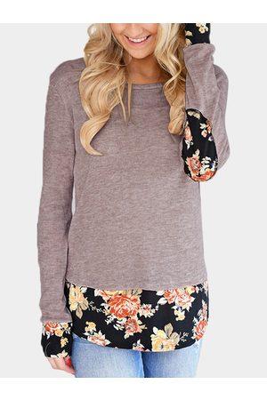 YOINS Dark Blush Random Floral Print Round Neck Long Sleeves Stitching Top