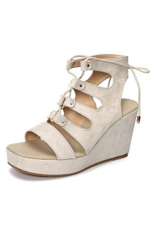 YOINS Apricot Suede Lace-up Design Wedge Sandals