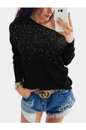 YOINS Bright Drill Embellished One Shoulder Long Sleeves T-shirt