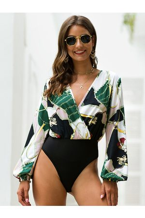 YOINS Multicolor Wrap Design Tropical V-neck Lantern Sleeves Bodysuit