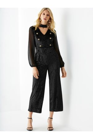 YOINS Double Breasted Long Sleeves Jumpsuit