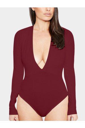 YOINS Sexy Bodycon V-neck Long Sleeves Bodysuit